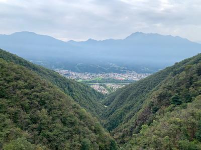 View from the Ponte Tibetano (Tibetan Bridge) in Monte Carasso,  near Bellinzona, Switzerland.