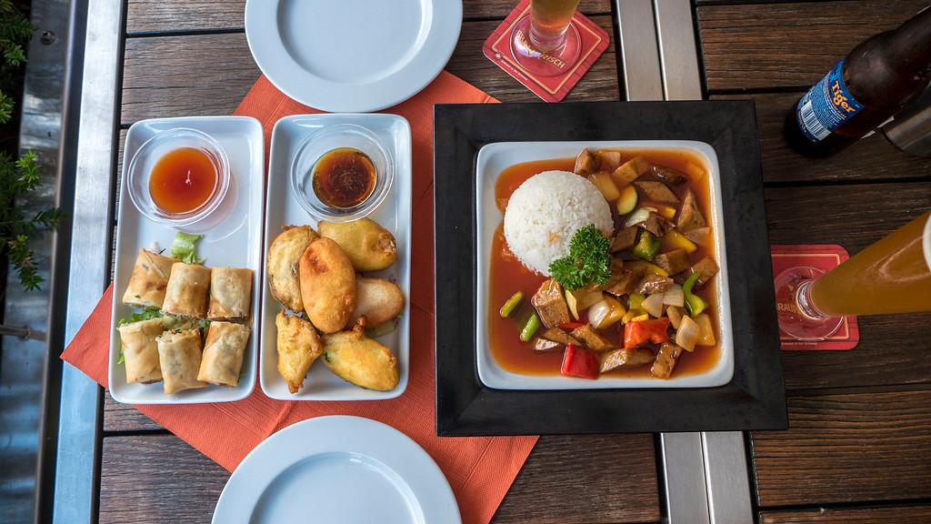 Vegan meal at Mishio Asian restaurant in Bern, Switzerland