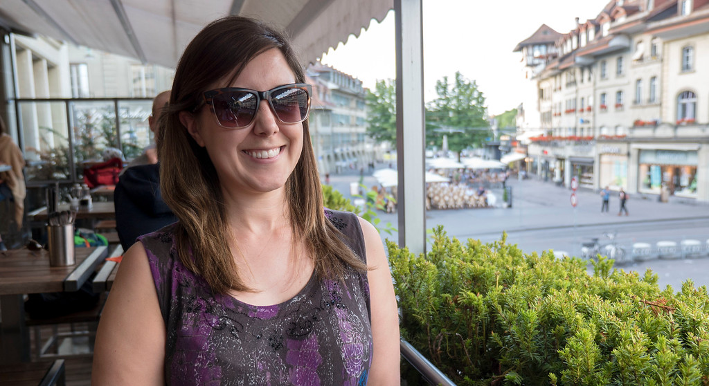 Lauren on the balcony of Mishio restaurant in Bern, Switzerland