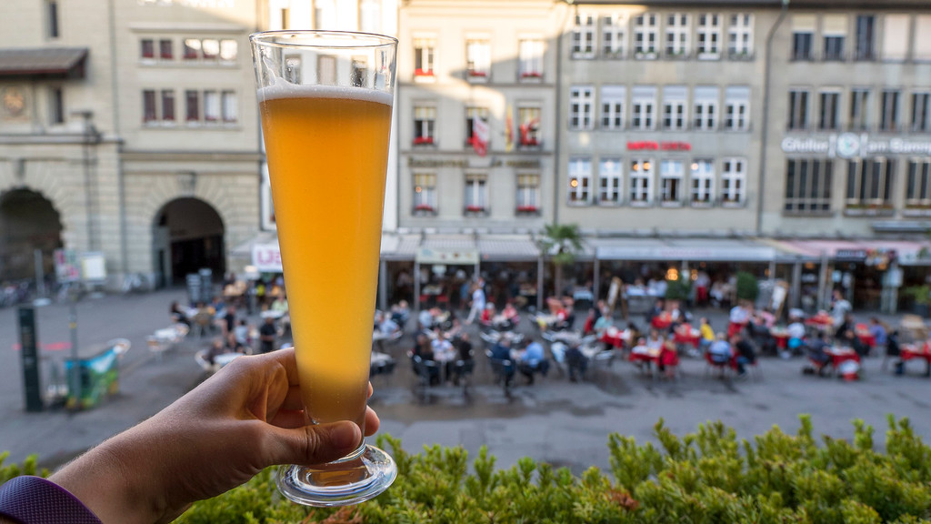 A beer from the balcony of Mishio in Bern Switzerland