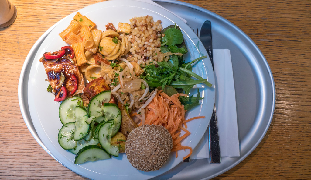 My plate from the buffet vegetarian restaurant, Tibits in Bern, Switzerland