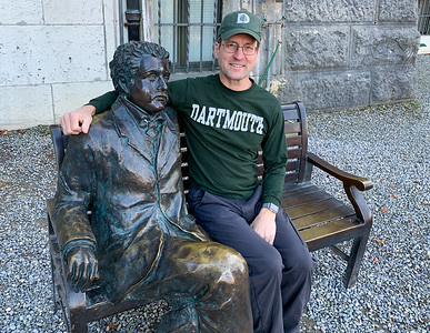 David  with Einstein, at the Einstein museum, in Bern.