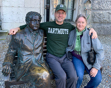David and Pam with Einstein, at the Einstein museum, in Bern.