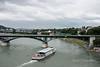 Tour boat heading under the Wettstein Bridge, Basel, Switzerland