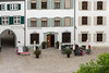 Muster Platz, tourist enjoying a drink outside the Museumsbistro, Old Basel, Switzerland (best larger)