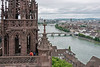 St. George's Tower and the Danube river seen from St. Martin's Tower, Basel Munster in Old Basel, Switzerland.