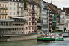 Old Town Basel with a cruise boat on the Rhine River, Basel, Switzerland