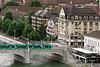 Tram crossing the Mittlere Bridge across the Danube River towards Klein Basel, Old Basel, Switzerland (best larger)