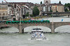 Heavily laden tanker that passed under the Mittlere Bridge against a strong current, Basel, Switzerland
