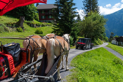 Traffic jam in Braunwald.