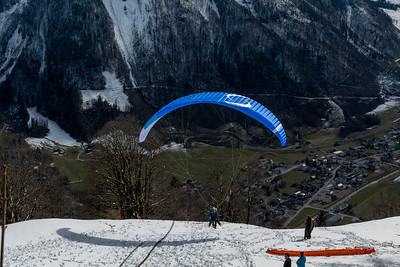 Paragliders launch from Braunwald.