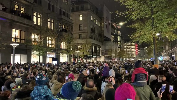 Opening night for Christmas on Bahnhofstrasse, Zurich.