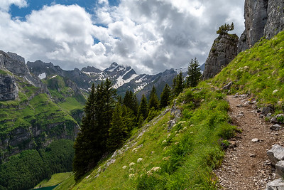 View up the Seealpsee valley, from the trail up-valley from Aescher.