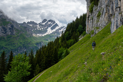 Andy leads the way as we follow the foot of the cliff, up the Seealpsee valley.