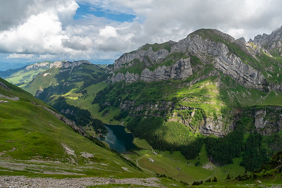 A view down-valley of Seealpsee and, opposite side, the route David would take the next day.