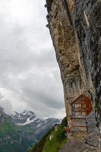 Aescher, the famous cliffside inn below Ebenalp.