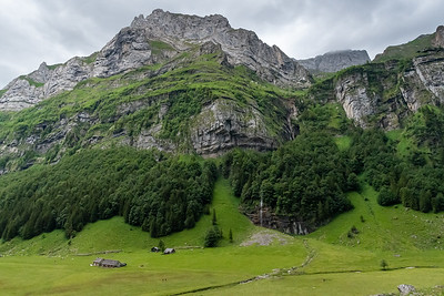 Waterfalls on the south side of Seealpsee valley, seen from the opposite side.