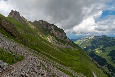 A view back toward Schäfler hut, with the knife-edge trail between there and us.