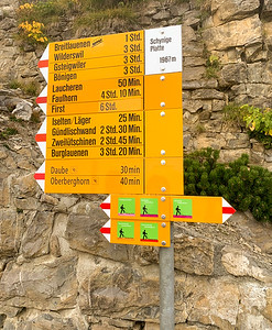 Trail signs at Schynige Platte.  Our destination is Faulhorn and then First.