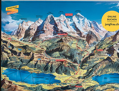 Dramatic map of the region, seen at the base of the train to Schynige Platte.