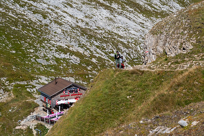 We climb out of the pass and away from the cozy Berghaus Männdlenen.