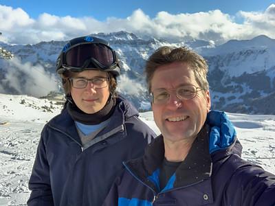Andy and David skiing at Flumserberg.