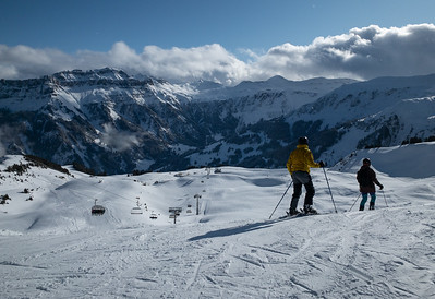 Skiers take in the view at Flumserberg.