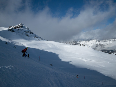 Skiing the high terrain at Flumserberg.