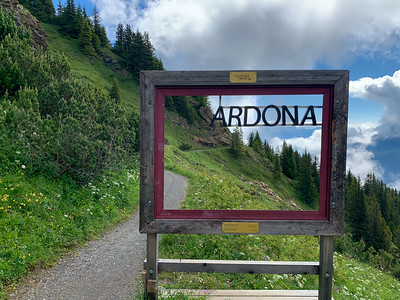This area is a UNESCO heritage site known as Sardona; here the sign encourages you to line-up the S-shaped rock with the rest of the word.