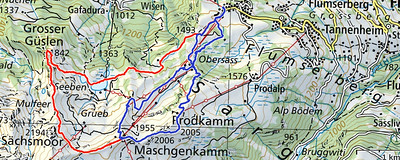 Map of my walks on Flumserberg – today (blue) and two weeks ago (red).