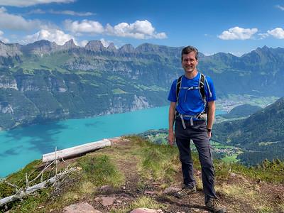 David on Gross Güslen peak, Flumserberg; Walensee is behind.