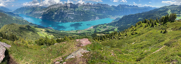 Walansee valley as seen from Gross Güslen peak, Flumserberg.