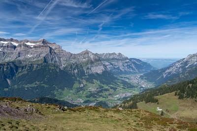 The trail around Gandstock overlooks the valley with the towns of Schwanden and Glarus, and in the distance, the flatter country and Zurich.