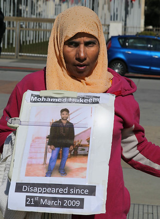 Al vigil against disappearance in SL on 12.03.2015  UN square, Geneva  6