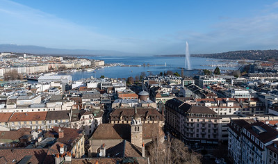 Lake view from Cathedral de Saint Pierre, Geneva.