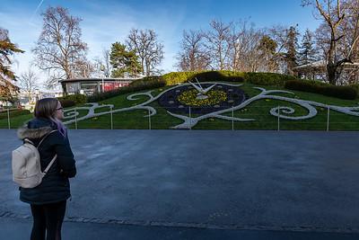 Mara examines Horloge Fleurie - the flower clock - on the lakeshore in Geneva.