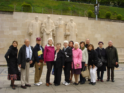 Attached is one of our group standing before the Reformation Wall, Geneva.
