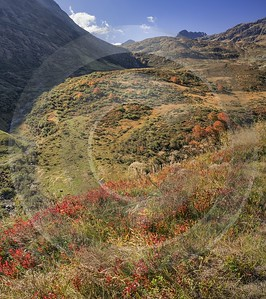 Oberalppass Autumn Color Brown Grass Panorama Viewpoint Red Barn Fine Art Giclee Printing - 025302 - 08-10-2018 - 6990x7869 Pixel