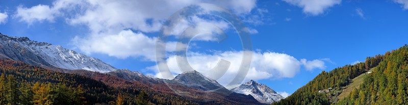 Santa Maria Berge Schnee Panorama Schweiz Switzerland Wolken Stock Pictures Fine Art Photos Pass - 001550 - 20-10-2007 - 15477x4001 Pixel