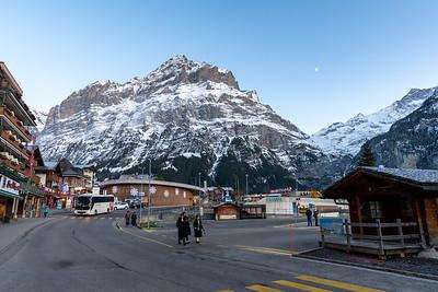 The Alps loom above Grindelwald, Switzerland.