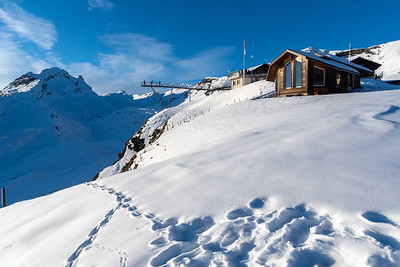 Panorama of the Jungfrau alps from First, above Grindelwald.