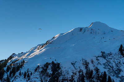 A paraglider takes off from First, above Grindelwald.