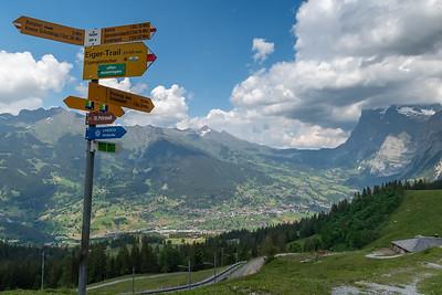 Grindelwald and its valley, seen on the way up to Kleine Scheidegg.