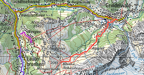 Map of our hike from Grindelwald to Kleine Scheidegg.