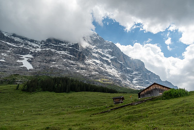 View of the lower slopes of the north face of Eiger., from the climb up to Kleine Scheidegg.