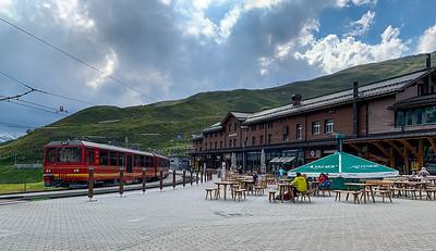 The train station at Kleine Scheidegg. where three different train lines meet.
