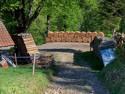 Firewood is a major business for many local farms, which bundle split wood in long pieces.