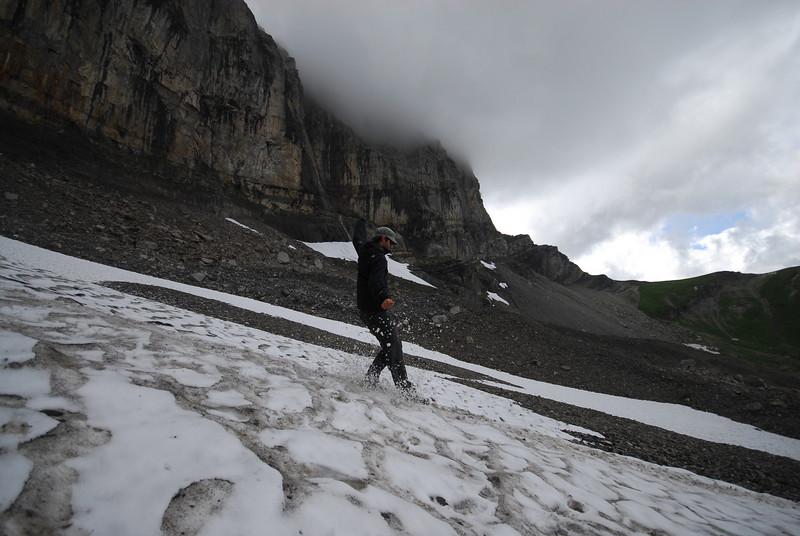 Sliding down the mini glacier of Lac d'Antème.