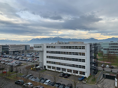 The EPFL campus has a beautiful view of the Alps.