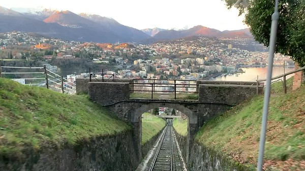 View from funicular train to Monte San Salvatore, Lugano.